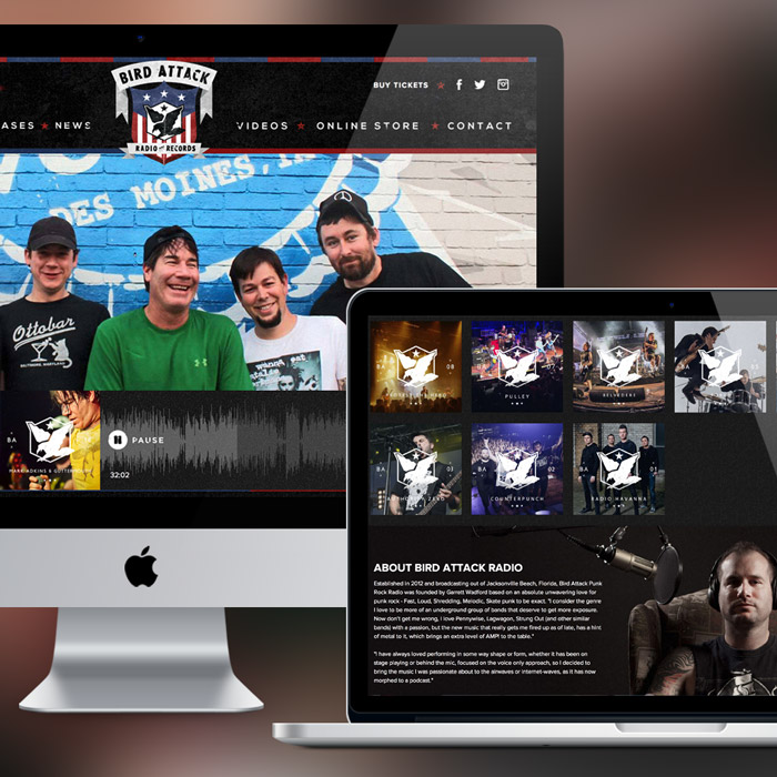 Bird Attack Records Web Design & Development, Branding by Melodic Creative