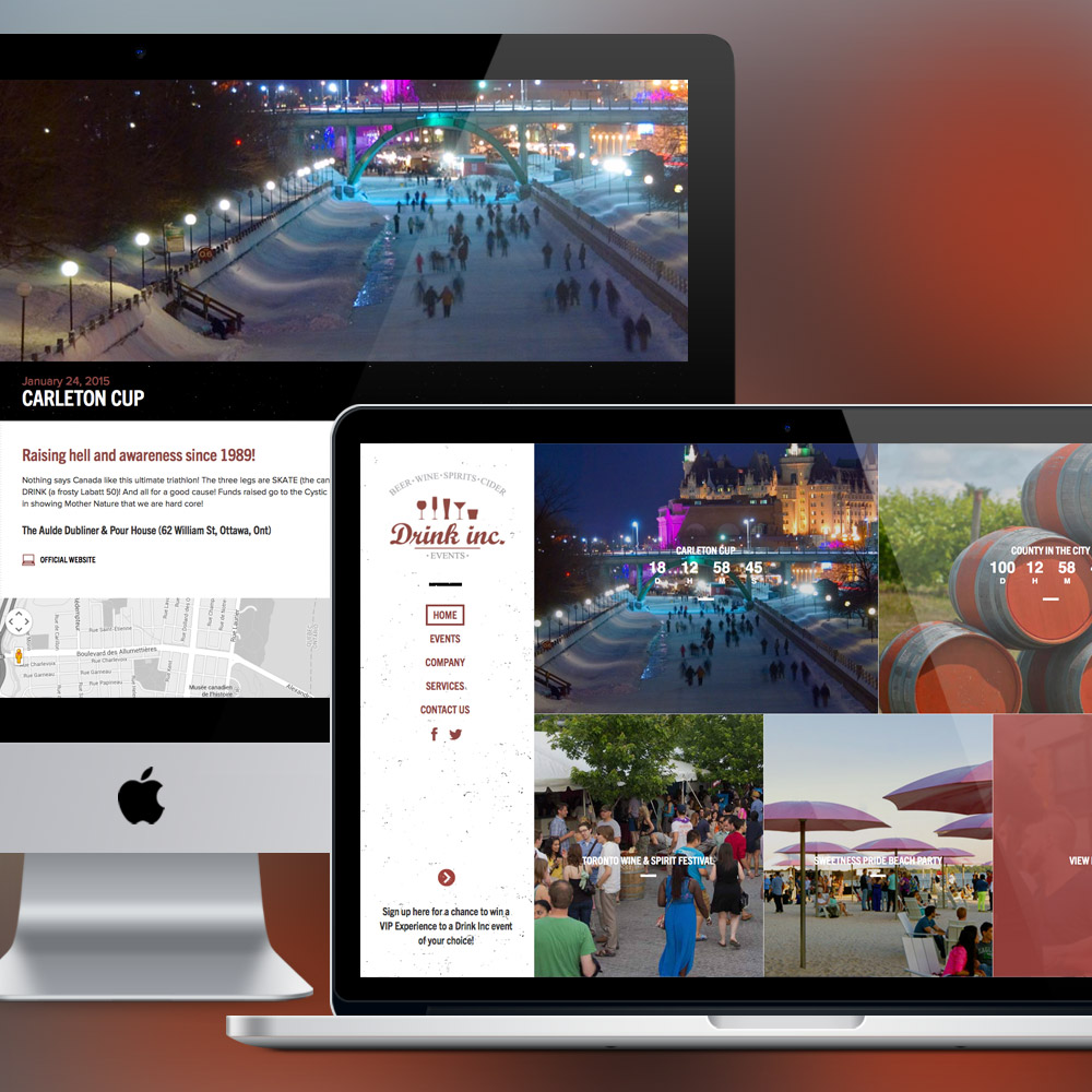 Drink Inc Events Web Design & Development by Melodic Creative