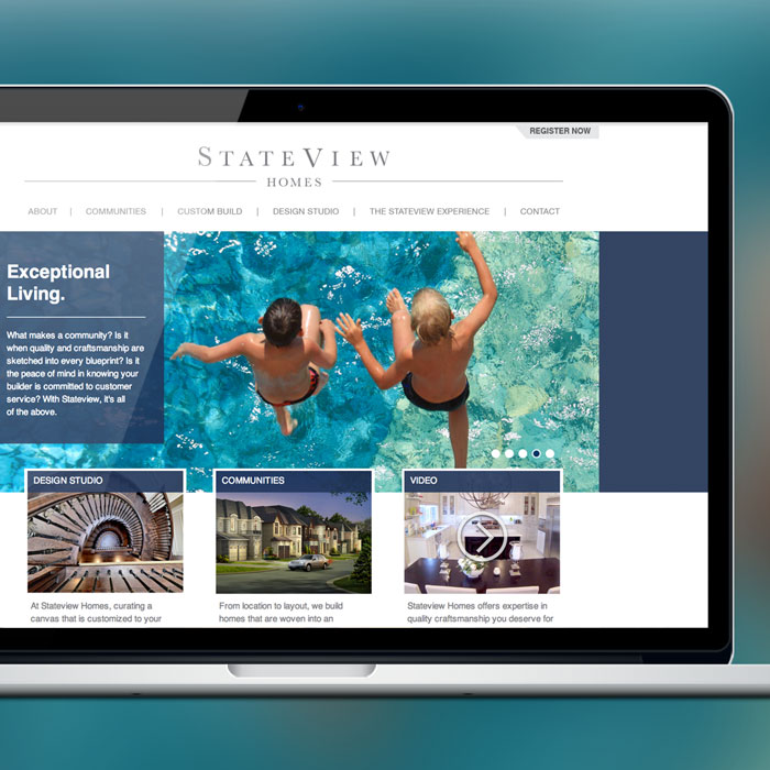 Stateview Homes Web Development by Melodic Creativeand Channel 13